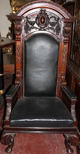 Carved Mahogany High Back Ornate Black Leather Chair Rare Antique 19th Century American Gothic Handcarved Solid Oak High Back Black Leather Upholstered His Her Throne Chairs Vintage Handcarved Cane Highback Hooded Chair Set Of 8 62 Arts And Crafts Carved Oak Ding Chairs High For Kitchen Table Spanish Conquistador Contemporary Carved Wood Side 43 Sandy Brown Linen Natural Cedar Accent 31092775 About Us Italian Renaissance Style 20th Cent Mahogany Throne Chair With Lion Arms A Back Crest Stretcher Brown Country Armchair C Spning Bedroom Seating Russian Arm Newel Bishops Occasional Blue Lion