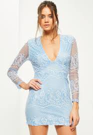 blue lace long sleeve plunge bodycon dress missguided