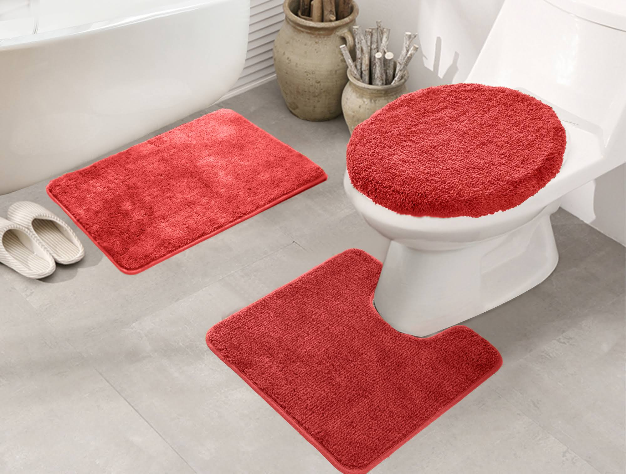RT Designers Collection Royalty 3 Piece Bath Rug Set Red