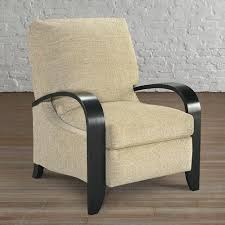 Tight Box Accent Recliner With Wood Arms teal herringbone