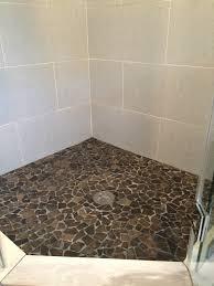 plenteous glazed grey pebble shower floor with white ceramic