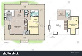 Country Homes Floor Plans Colors Country House Floor Plan Color Landscape Stock Illustration
