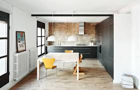 eclectic kitchen design with white pendant lighting table runners