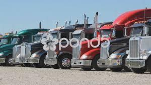 Line Of Peterbilt Trucks At Used Truck Dealership. ~ Video #52314190