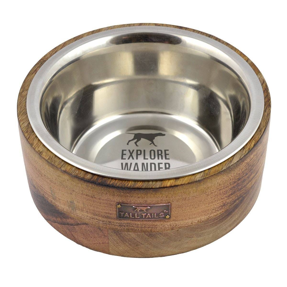 Tall Tails 88216255 Stainless Steel Dog Bowl Wood - 1 Cup