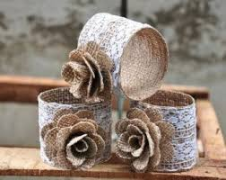 Items Similar To Burlap Napkin Rings Rustic Lace Rose Set Of On Etsy