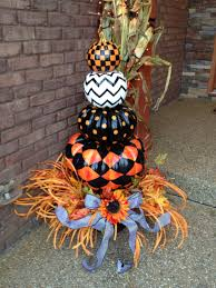 Mackenzie Childs Painted Pumpkins by Halloween Black White And Orange Painted Pumpkin Topiary Trick