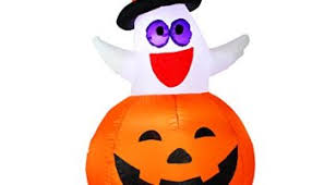 Halloween Blow Up Decorations For The Yard by Gemmy Outdoor Ghost With Witch Hat White Standard Inflatable