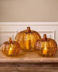Glass Hand Blown Pumpkins by Fall Pumpkin Glass Candle Holder Balsam Hill
