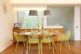 Kneeling Chair Dining Room Tropical With Built In Buffet Cove Lighting Flannel Ceiling Pendants Frosted Glass Green