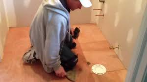 Vinyl Floor Underlayment On Concrete by How To Install Vinyl Flooring In A Bathroom Youtube