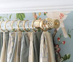 Custom Lattice Finial Lucite and Gold Brass Drapery Curtain Rod