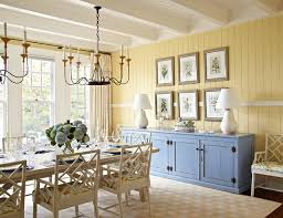 Example Of A Coastal Dark Wood Floor And Beige Dining Room Design In Chicago With