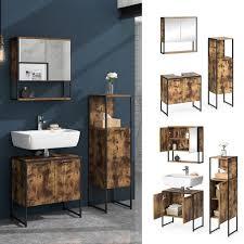 vicco loft badmöbel set fyrk vintage spiegelschrank midischrank waschtischunterschrank