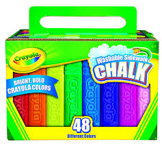 Childrens Crayola Box Of 48 Sidewalk Washable Anti-Roll Bright ...