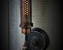 industrial copper metal shaded wall sconce engine house no 5