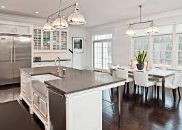 White Kitchen With Dark Wood Floors Traditional Kitchens