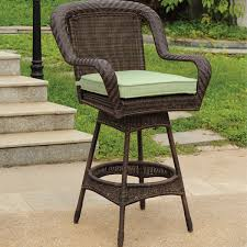 Patio Bar Stools – Brown Coated Iron Frame Finish Beige Wicker
