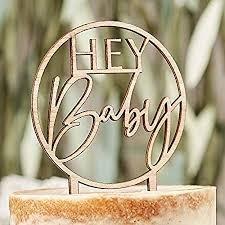 miss lovely kuchen aufsatz hey baby kuchen stecker torten aufsatz aus holz kuchen deko cake topper baby gender reveal geburt taufe mädchen junge