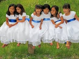 girls in white dresses with blue satin sashes flickr