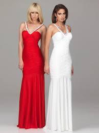 affordable v neck column floor length red or white chiffon zipper