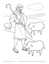 Bible Coloring Pages For Kids Sheep And Shepherd Page