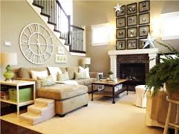 Stair Wall Design With Staircase And Wood Reiling Snd Small Living Room Rustic Cream Sofa