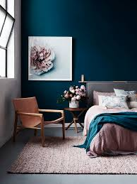 Gorgeous Dark Blue Walls And Blush Accents For A Dramatic Bedroom If Youre