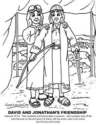 David And Jonathan Friendship Coloring Pages Alternate
