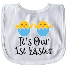 Twin Boys 1st Easter Holiday Chicks Baby Bib White 1099