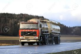 100 Feed Truck SALO FINLAND NOVEMBER 4 2017 Early Volvo F12 Tank Truck