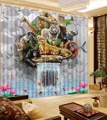 Vorhã Nge Wohnzimmer Tipps Moderne Startseite Vorhänge 3d Kreative Ziegel Wand Wasserfall Vorhänge Für Wohnzimmer Tiere Kinderzimmer Vorhänge