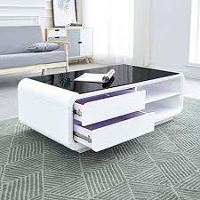 de qyz modern rechteck glastisch mit stauraum weiß