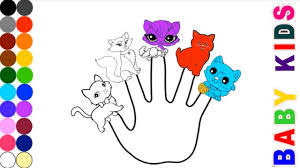 Cat Finger Family Coloring Page