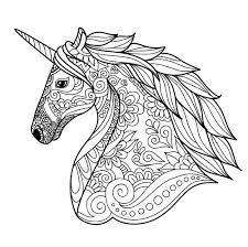 Unicorn Coloring Pages Best Head Simple Unicorns Adult