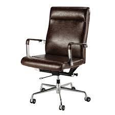 le de bureau vintage brown vintage office chair on castors maisons du monde