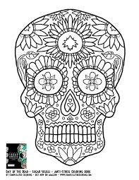 Day Dead Sugar Skulls Complicated Coloring Free Adult Colouring Sheet Skull Book Pages Pdf Download
