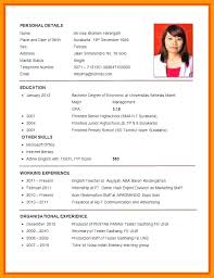Sample Resume Pdf Format Example Of For Job Application Curriculum Vitae