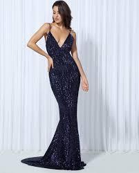 online get cheap blue sequined v neck maxi dress aliexpress com
