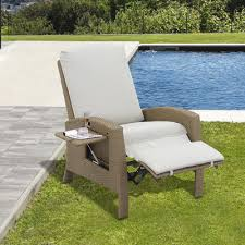 rattan sofa chair outdoor patio single wicker recliner garden