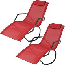 Sunnydaze Decor Red Folding Rocking Sling Outdoor Lounge Chair With Pillow  (Set Of 2)