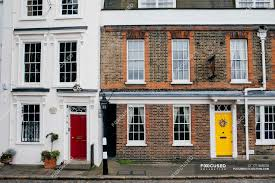 100 Townhouse Facades Exterior View Of Houses Facades With Bright Colorful Doors Copy