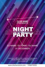 Night Party Poster Template Abstract Blue Pink Background