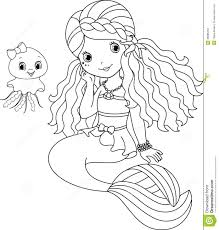 Spectacular Design Fairy Mermaid Coloring Pages Free Of Cute Baby Mermaids Page Her Pet Jellyfish