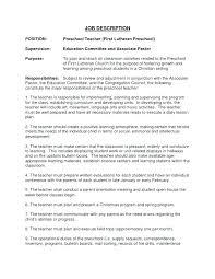 Preschool Teacher Resume Samples Sample Kindergarten Assistant Job