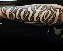 Guys Shaded Negative Space Lettering Forearm Name Tattoo