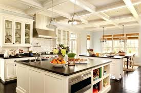 Traditional Kitchen Ideas Design Black White Cabinets Luxury Pendant Lamp Also Wooden