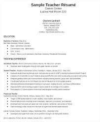 Elementary Teacher Resume Template Word Education Resumes Teaching Samples Sample Free Documents Download Substitute Examples No