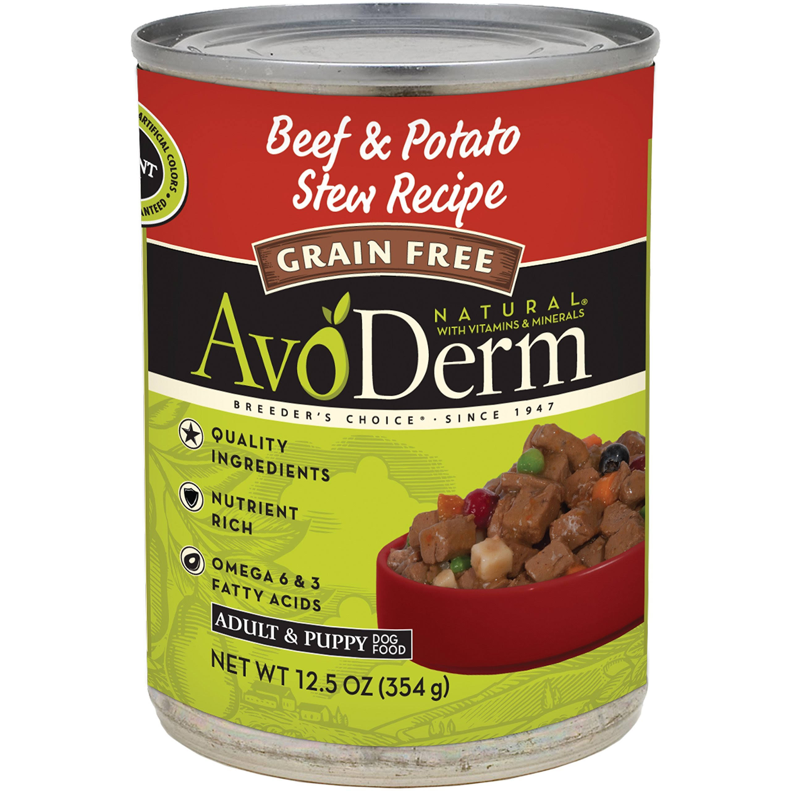 AvoDerm Grain-Free Canned Dog Food - Beef & Potato Stew Recipe, 12.5oz