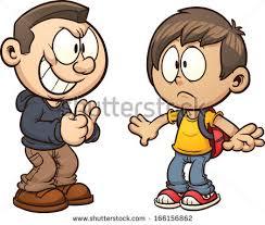 Cartoon kid ting bullied Vector clip art illustration with simple gra nts Each kid on